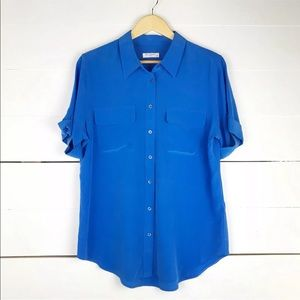 Equipment femme blue silk button down blouse
